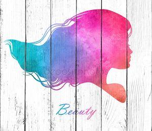 силуэт головы с акварель hair.vector иллюстрации салона красоты женщина