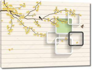 Горизонтальные полосы, ветка дерева с желтыми листьями