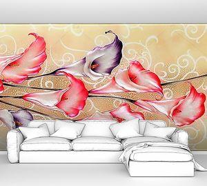 Красные и фиолетовые каллы