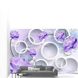Круги и  фиолетовые цветы
