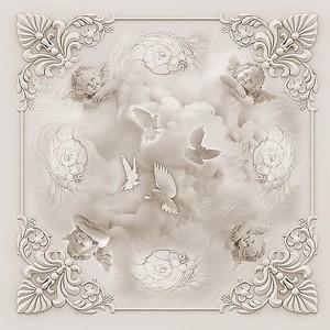 Потолочная розетка с ангелочками в монохромном исполнении