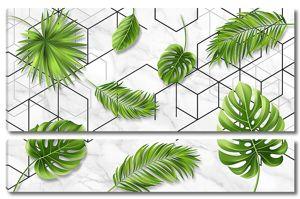 Узор из кубов и листьев пальмы