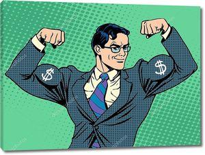 Бизнесмен с мышцами из долларов