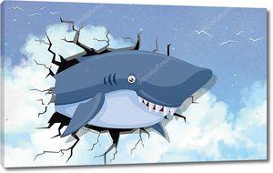 3d иллюстрация, улыбающаяся акула выглядывает из трещины в wal