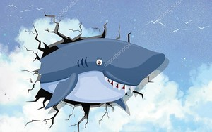 Улыбающаяся акула выглядывает из трещины