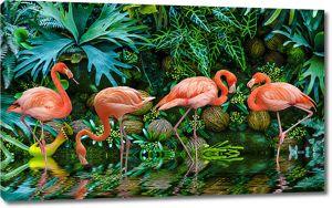 Фламинго в тропическом лесу