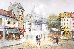 Красивый рисунок с видом на город