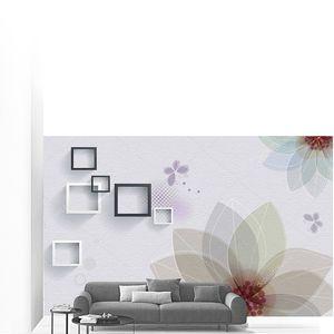 Абстрактный цветочный фон с квадратами