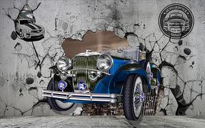 Старинная машина вылетает из бетонной стены