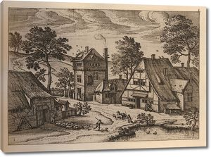 Брейгель. Гравюра. Вид фламандского села (офорт)