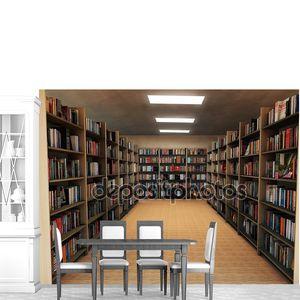Книжная полка в библиотеке