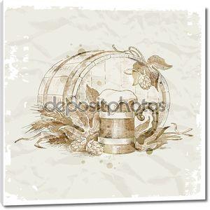 рука нарисованные Натюрморт с хоп и кружку пива