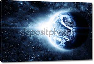 Красивые sunriece на красной планеты в космосе