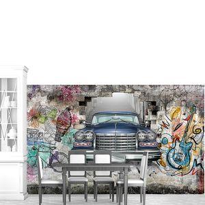Лимузин из стены с граффити