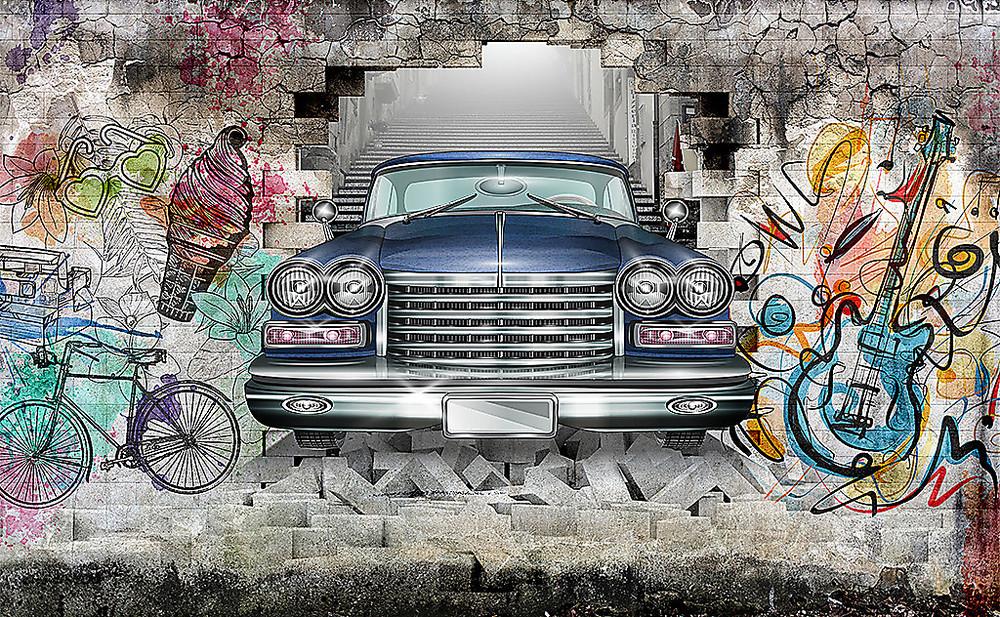 Фотообои «Лимузин из стены с граффити», купить в интернет-магазине «Первое Ателье»™
