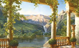 Вид с живописной террасы на водопад