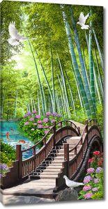 Мостик в бамбуковом лесу