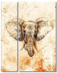 Слон с цветочным орнаментом