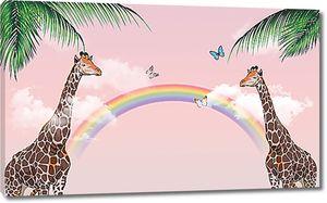 Два жирафа с радугой
