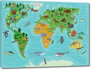 Животный мир. Забавный мультяшный карта