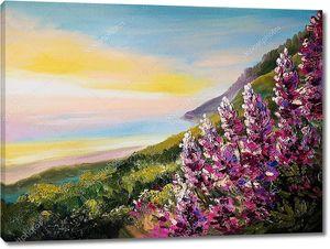 Картина маслом красочный закат на побережье Черного моря