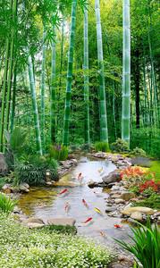 Ручеек в бамбуковом лесу
