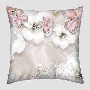 Шелковый фон, белый жемчуг, цветы