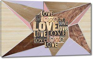 Деревянная панель с вырезанным словом love