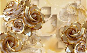 Объемные розы с позолоченными лепестками