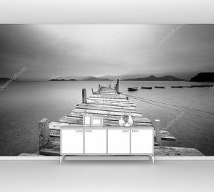 Черно-белый на причал и лодки, черно-белый