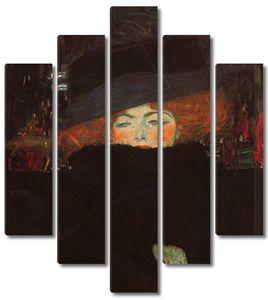 Климт Густав. Портрет дамы в шляпе и боа из перьев