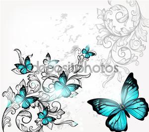Элегантный фон с бабочками и орнамент