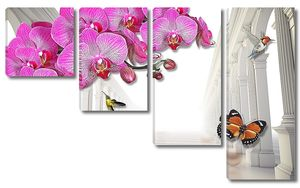Орхидеи на фоне колонн