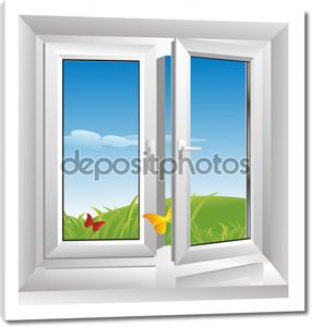 белое пластмассовое окно
