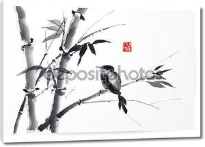карта с бамбук и птицы