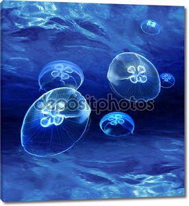Синий медуз, светящиеся под водой