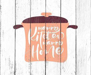Happy Kitchen happy home hand draw calligration text on pan. Векторные белые изолированные буквы логотипа. Положительные почерк правила написания буквы для мотивации и вдохновения
