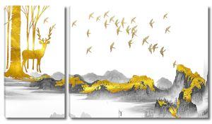 Золотой олень с птицами