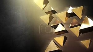 Золотые 3D пирамиды