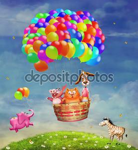 Животные в воздушный шар в небе