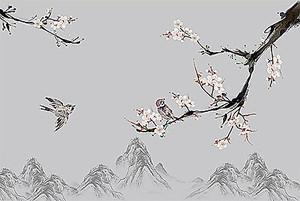 Ветвь сакуры на фоне гор