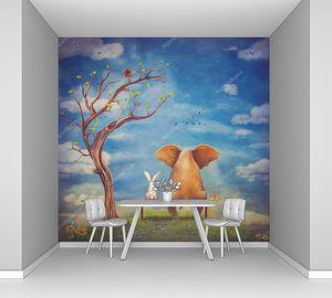Слон и кролика сидеть на скамейке на поляне