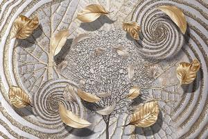 Абстракция с летящими листьями