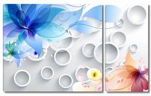 Белые кольца, красочные сказочные цветы