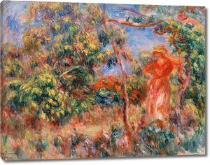 Ренуар. Женщина в красном в пейзаже