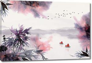 Лодки с парусами на озере