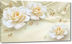 Розы с золотыми бабочками