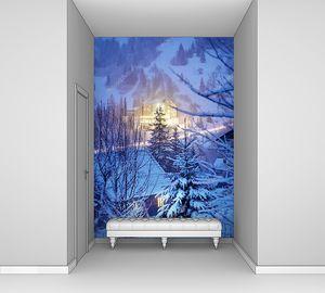 Светящиеся дома в зимних горах