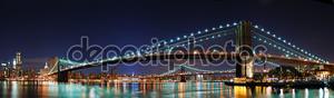 Панорама Бруклинский мост в Нью-Йорке Манхэттене
