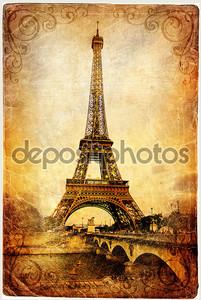 Старинный Парижский карт серии-Эйфелева башня